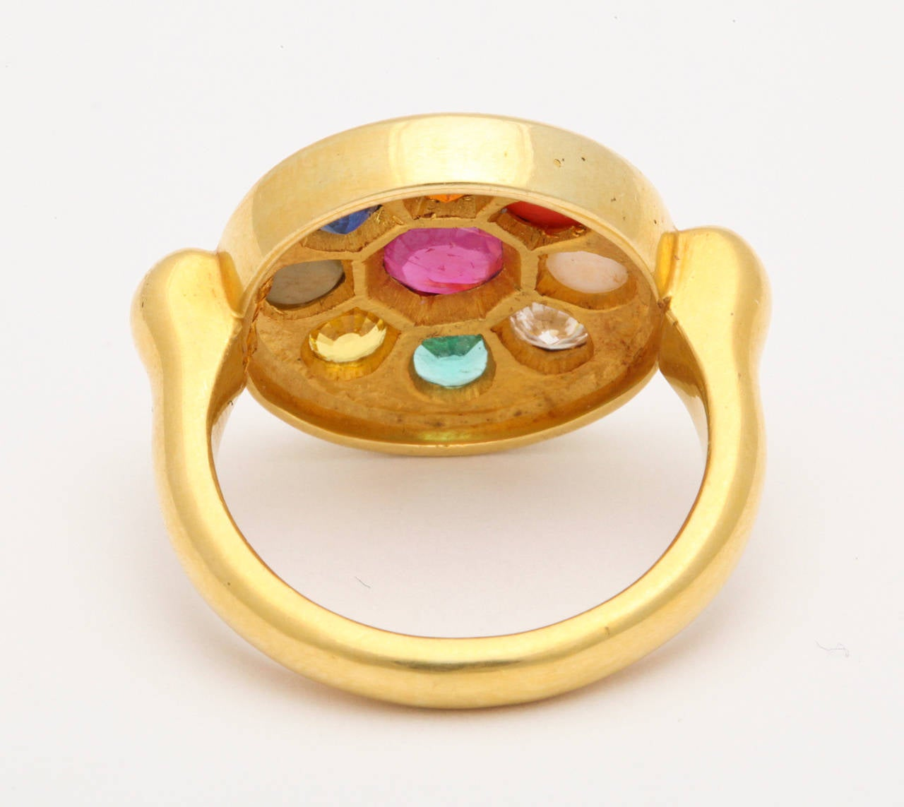 Nine Planet Gem Set Gold Ring 5