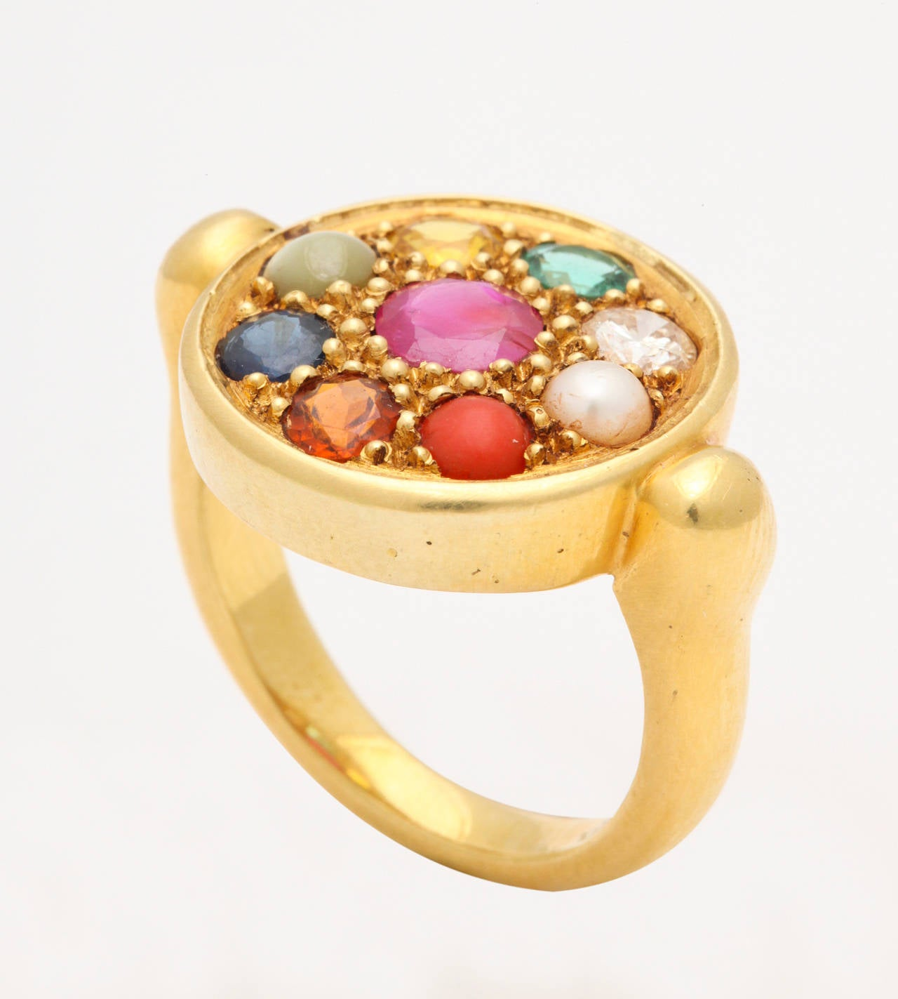 Nine Planet Gem Set Gold Ring 6