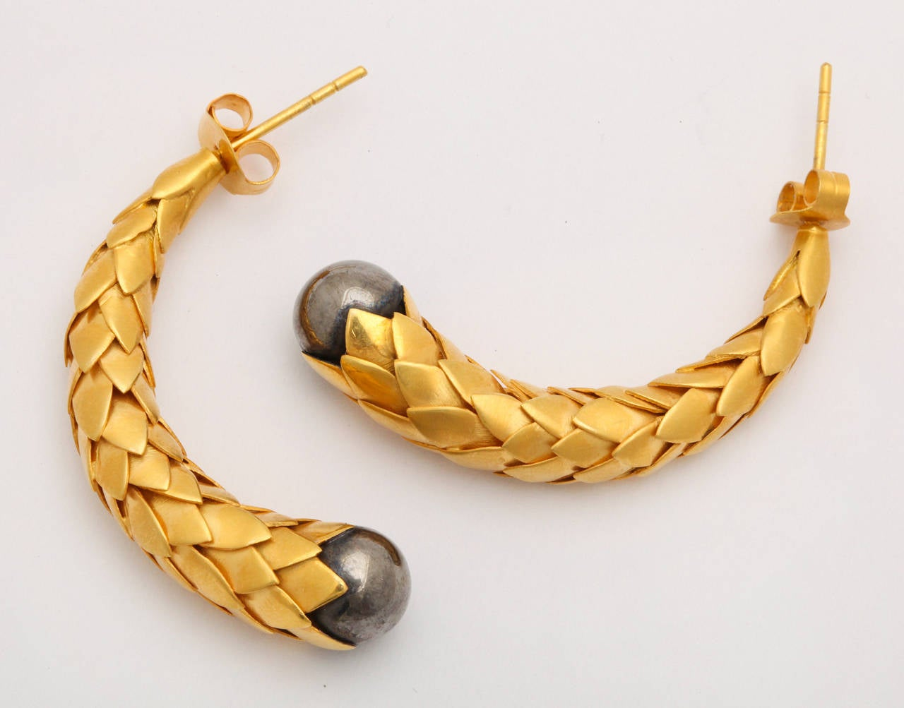 Rebecca Koven Gold Silver Feather Earrings 4