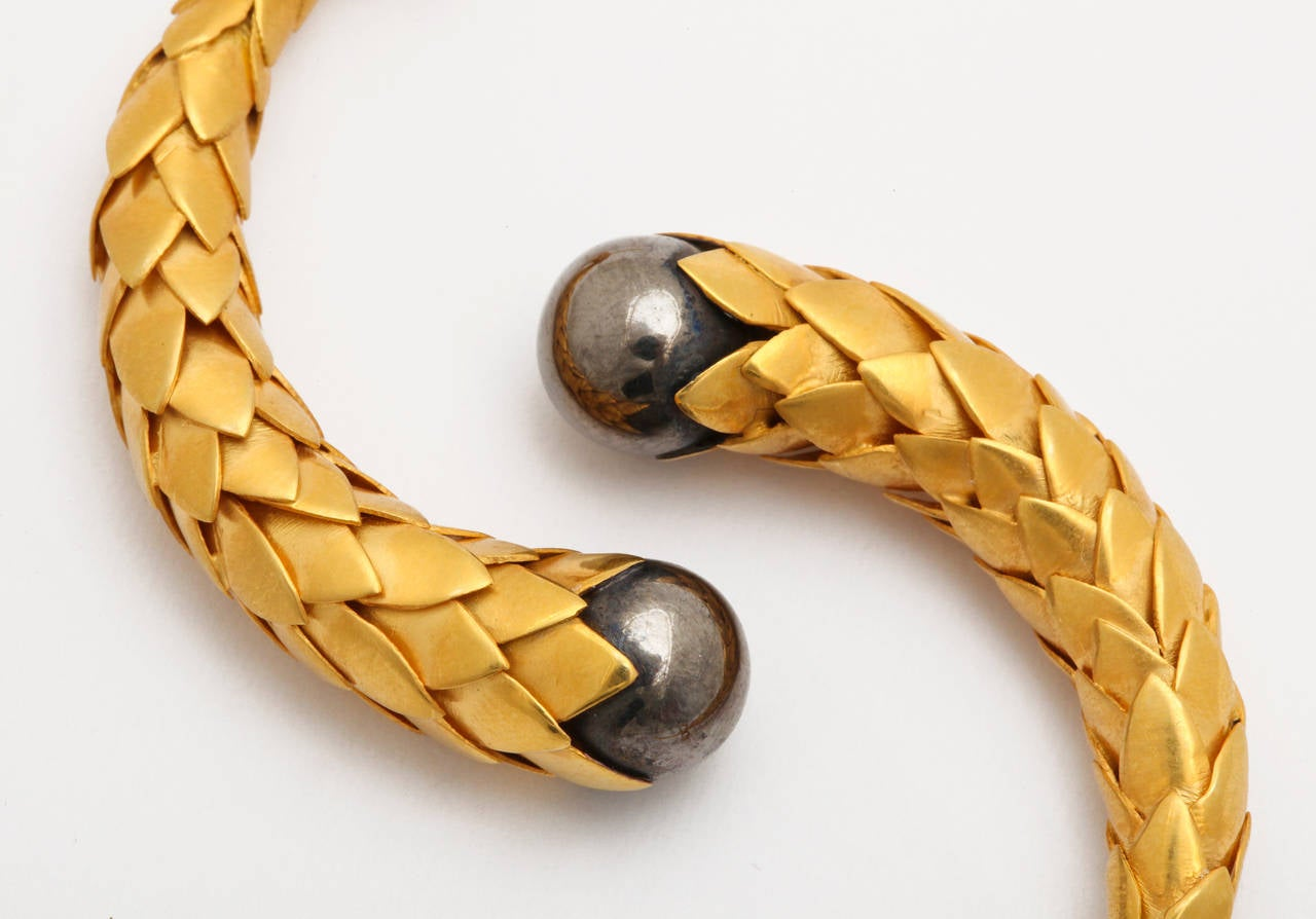 Rebecca Koven Gold Silver Feather Earrings 5