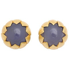 Chalcedony Gold Sunflower Earrings