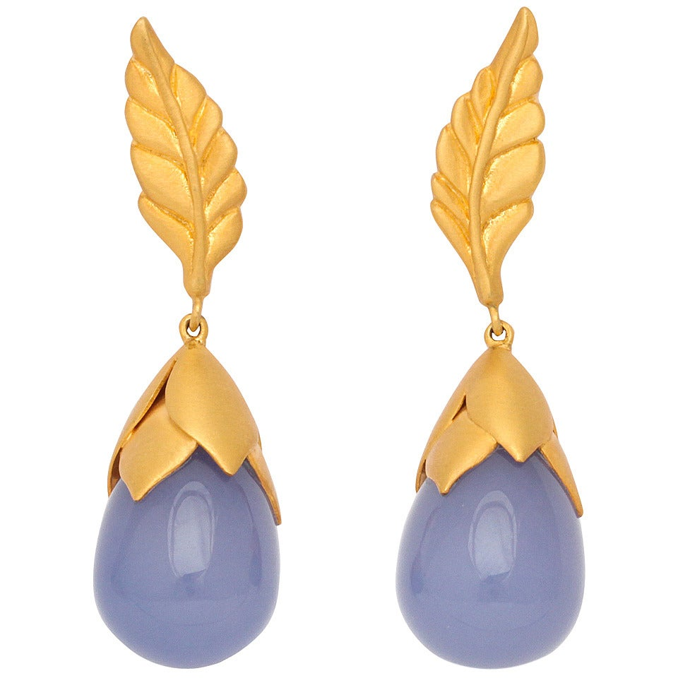 Rebecca Koven Chalcedony Gold Feather Drop Earrings 1