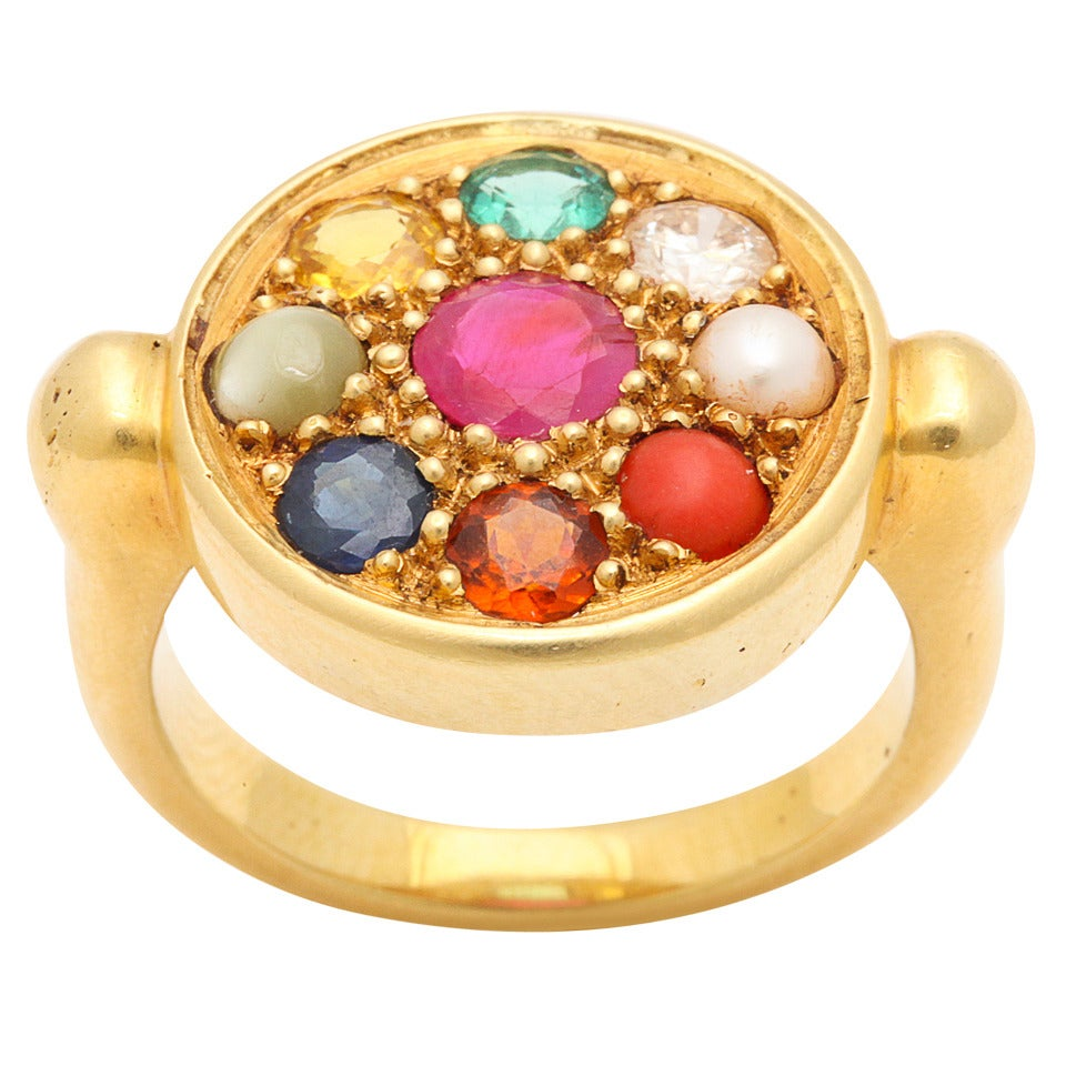 Nine Planet Gem Set Gold Ring 1