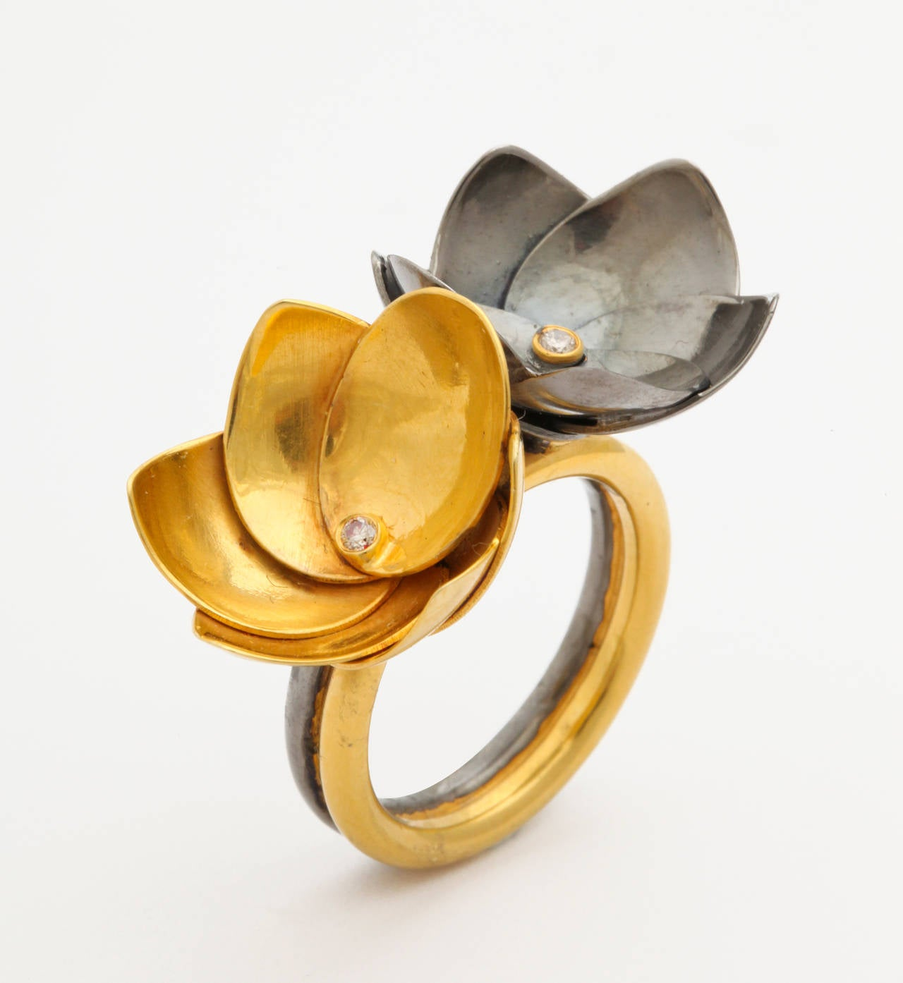 Double Gold Platinum: Diamond Silver Gold Double Lotus Flower Ring For Sale At