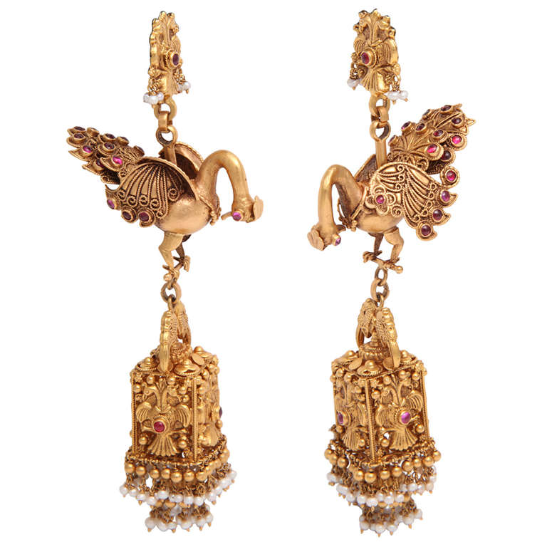 Ruby Gold Peacock Earrings For Sale