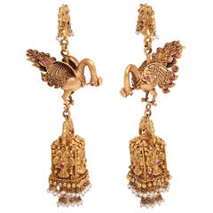 Ruby Gold Peacock Earrings