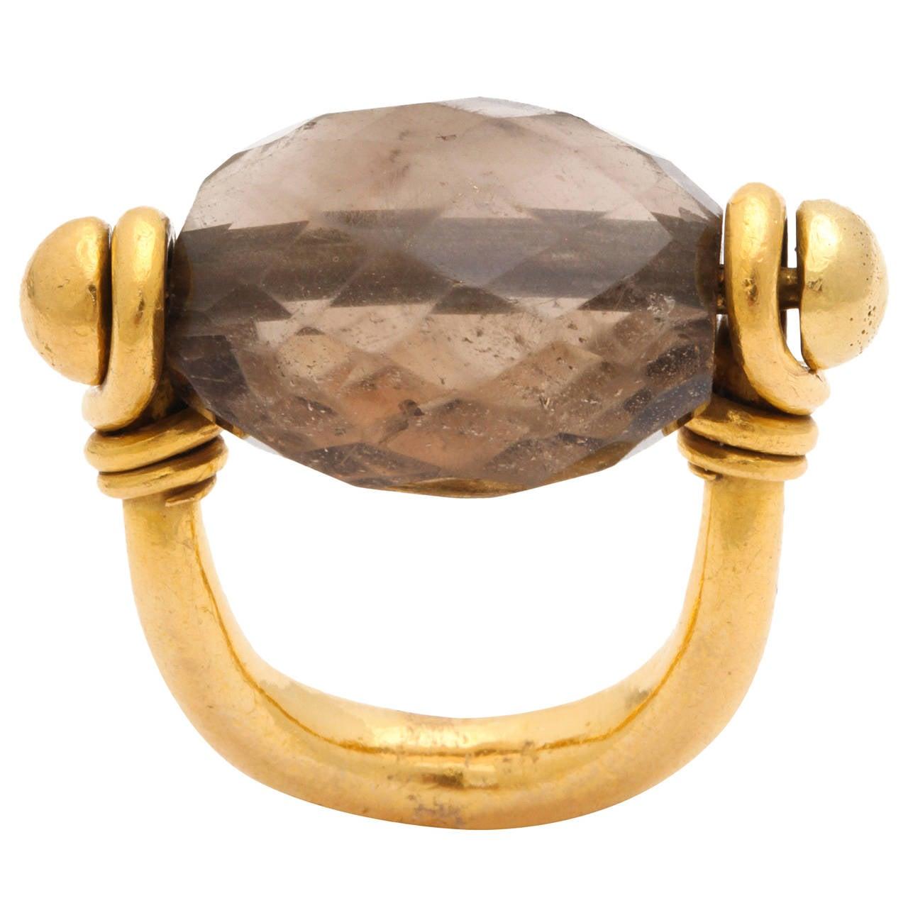 Rebecca Koven Smokey Topaz Gold Saddle Ring