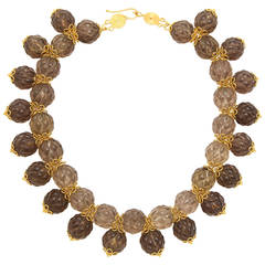 Rebecca Koven Smokey Quartz Artichoke Necklace