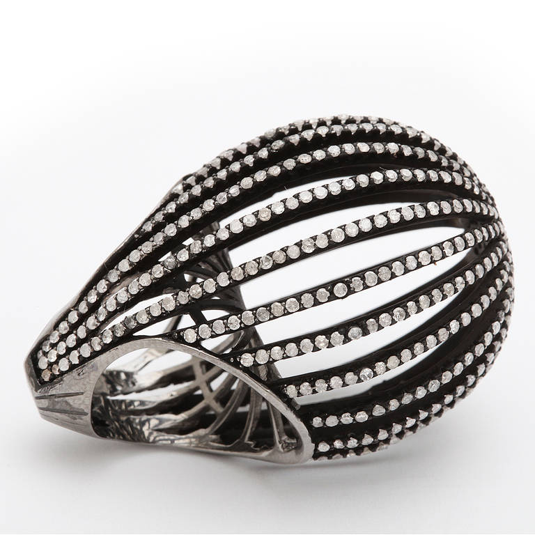 silver cage ring for sale at 1stdibs