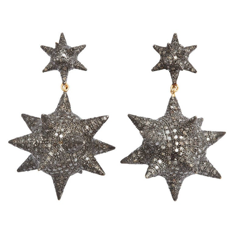 Super Star Diamond Silver Earrings