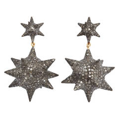 Super Star Diamond Silver Earrings