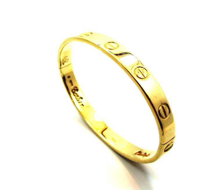 1970's Cartier Love Bracelet By Aldo Cipullo In Yellow Gold Size 16 4