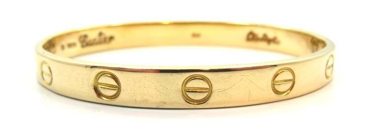 1970's Cartier Love Bracelet By Aldo Cipullo In Yellow Gold Size 16 2