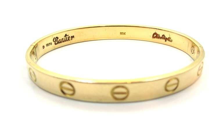 1970's Cartier Love Bracelet By Aldo Cipullo In Yellow Gold Size 16 3