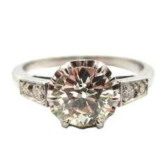 Elegant Edwardian 1.12 Carat Old European Cut Diamond Platinum Engagement Ring