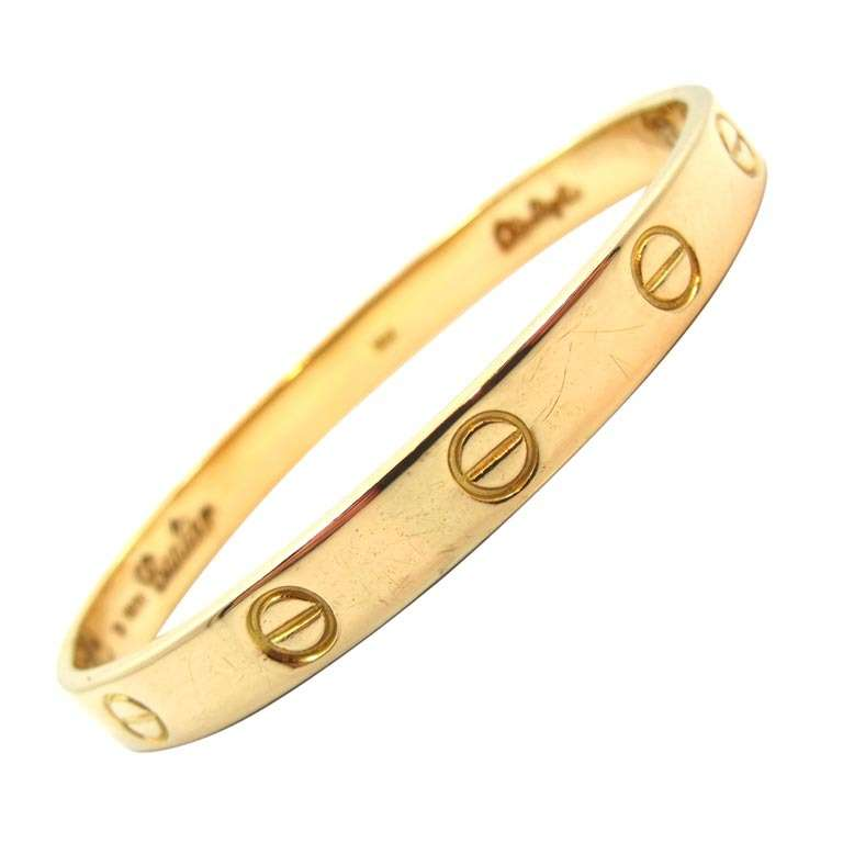 1970's Cartier Love Bracelet By Aldo Cipullo In Yellow Gold Size 16 1