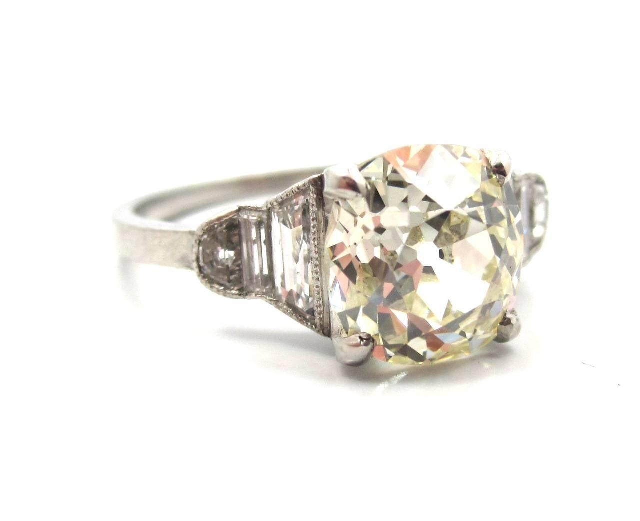 Art Deco 2 00 Carat Cushion Cut Diamond Platinum Engagement Ring at 1stdibs