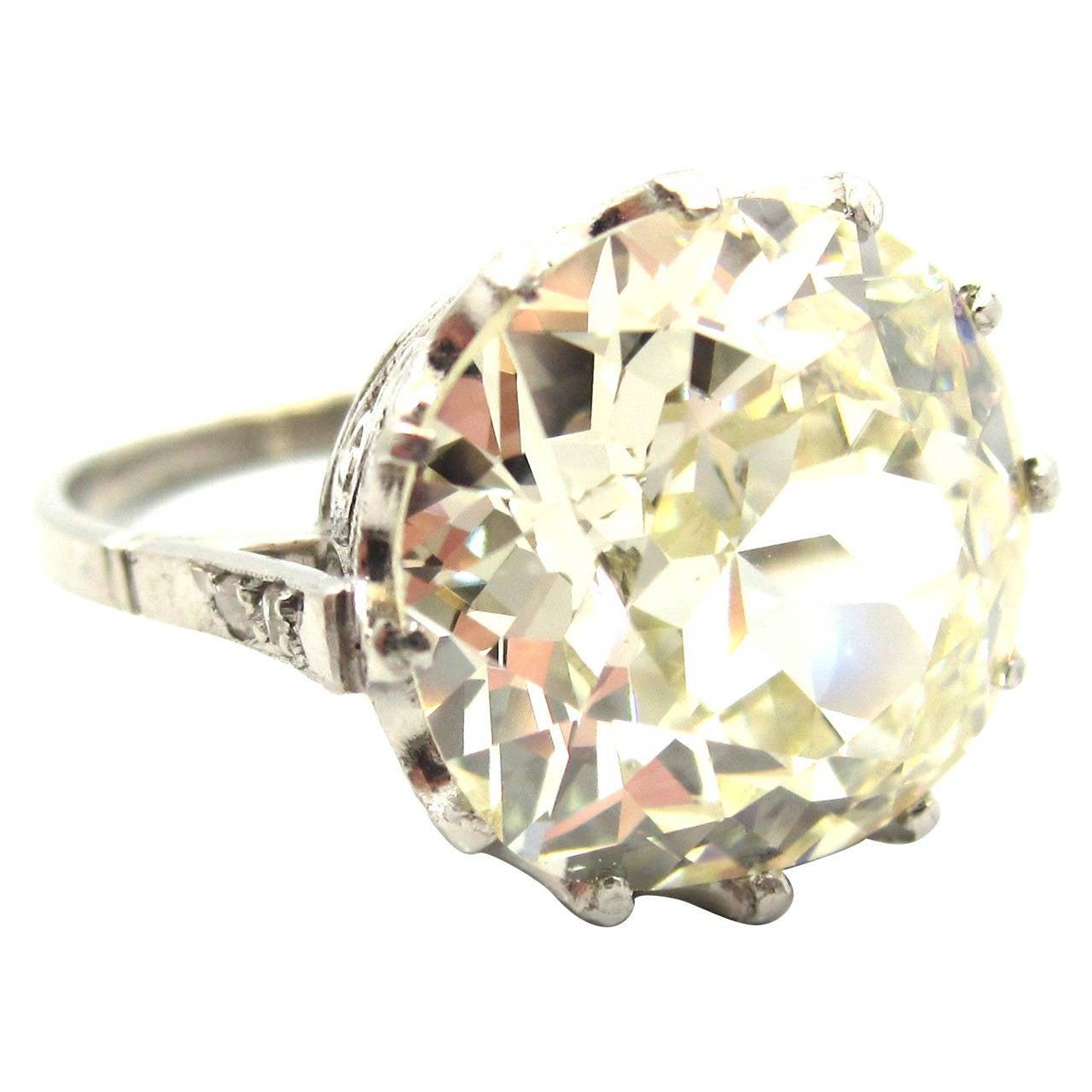Incredible Edwardian 7 66 Carat Cushion Cut Diamond Crown
