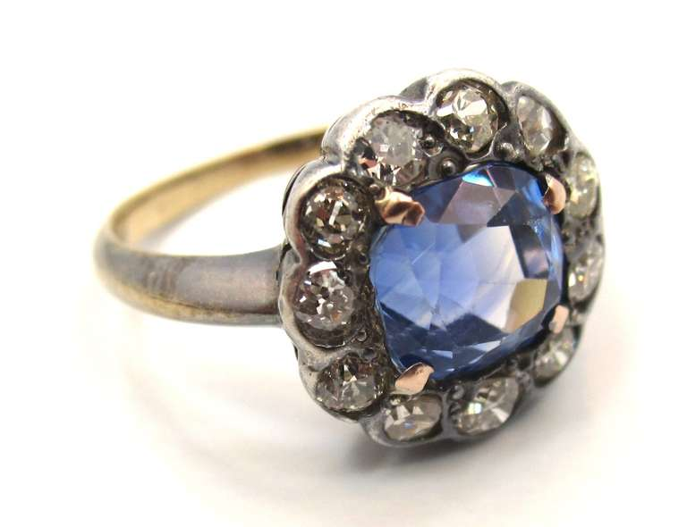 Victorian No Heat Sapphire Old Cut Diamond Silver Gold Cluster Ring 2