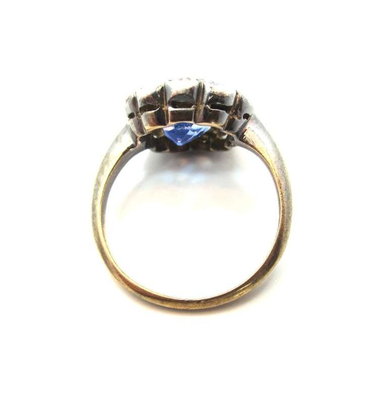 Victorian No Heat Sapphire Old Cut Diamond Silver Gold Cluster Ring 3