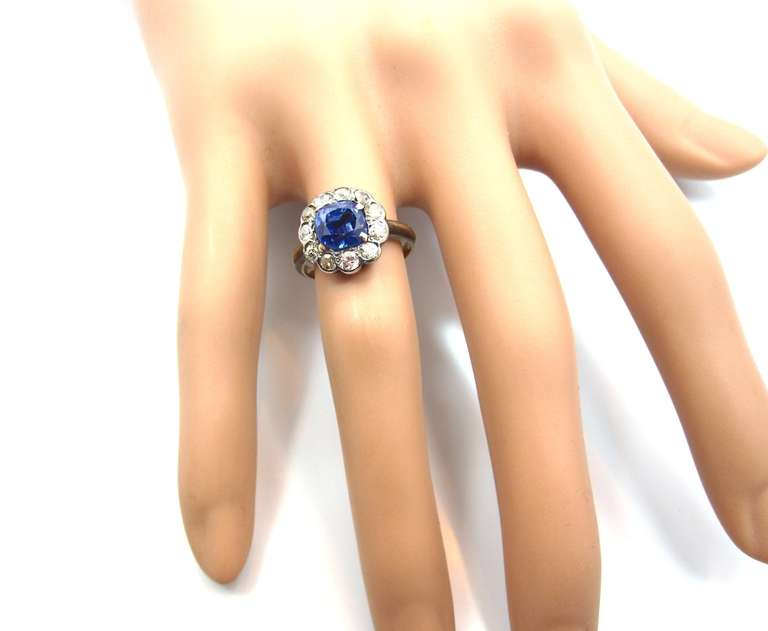 Victorian No Heat Sapphire Old Cut Diamond Silver Gold Cluster Ring 4