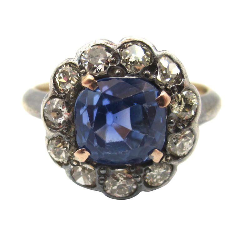 Victorian No Heat Sapphire Old Cut Diamond Silver Gold Cluster Ring 1