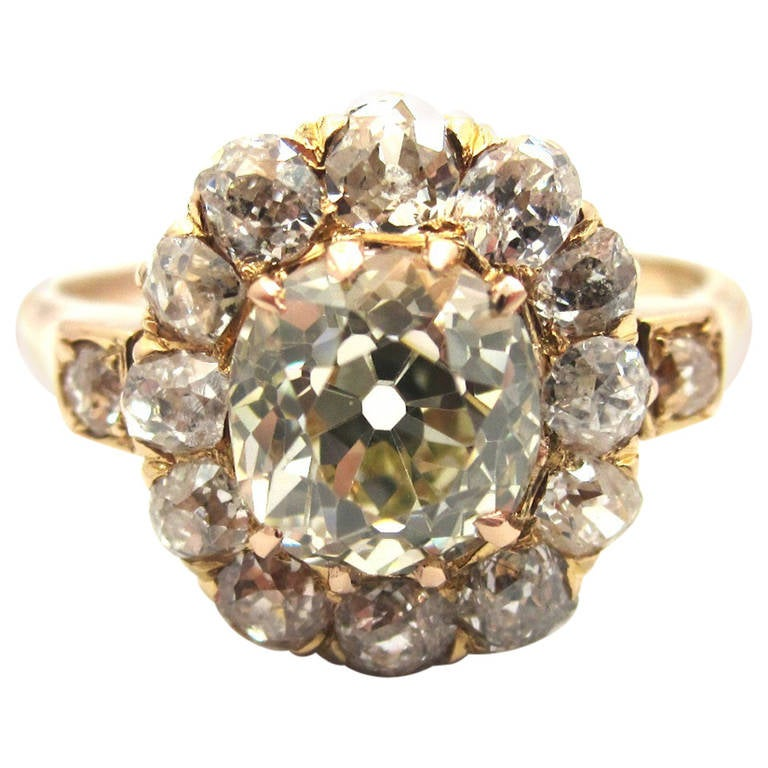 Fantastic Victorian Old Cushion Cut Diamond and Rose Gold Cluster