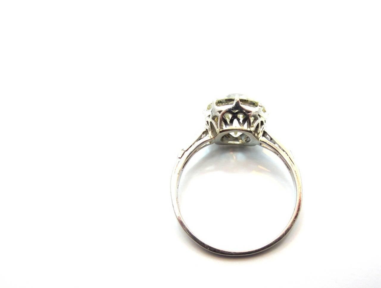 Edwardian 3 30 Carat Old European Cut Diamond Platinum Engagement Ring at 1st