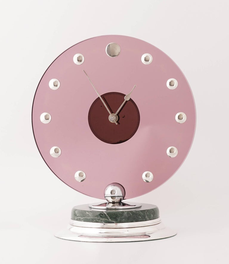 Cartier Circular Silver Pink Glass Marble Art Deco Clock, circa 1935 In Excellent Condition For Sale In Paris, FR