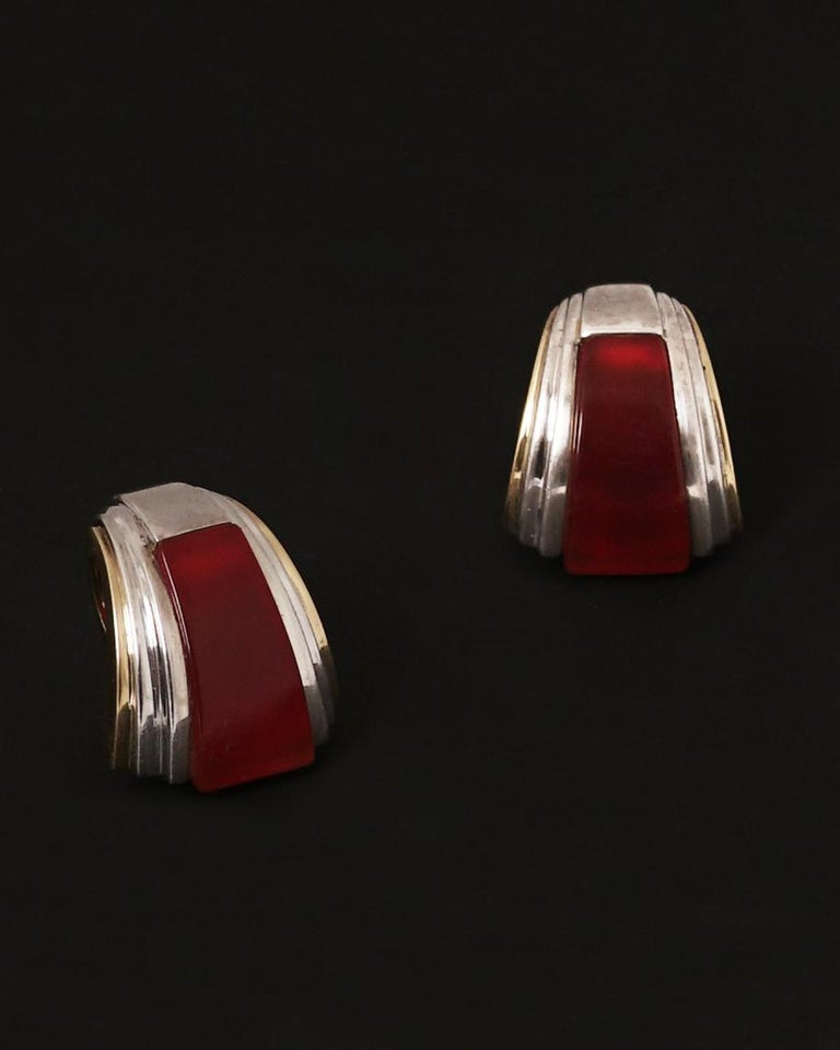 Puiforcat, Gold Silver and Carnelian Clip-On Earrings, circa 1970 In Good Condition For Sale In Paris, FR