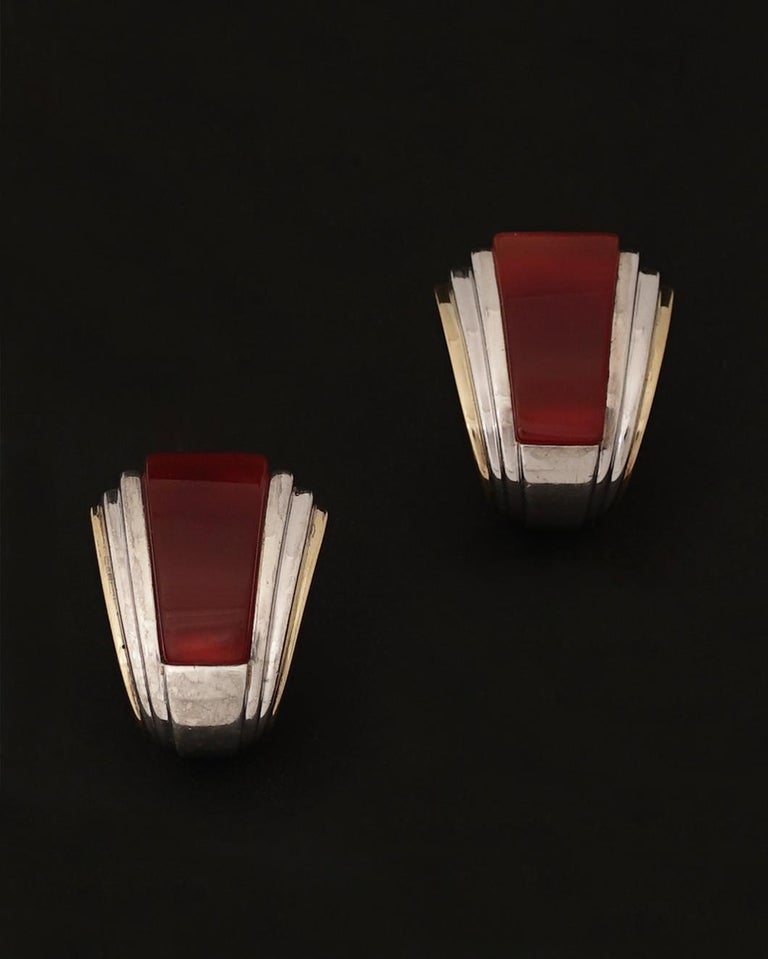 Puiforcat Clip-on Earrings, Circa 1970 18K Gold, Silver, Carnelian Signed PUIFORCAT (Photo 6), French Hallmarks for gold and Silver (Photos 7 and 8) Weight : 28,50g  Wonderful and rare Puiforcat Earrings inspired by Art Deco design that can also be