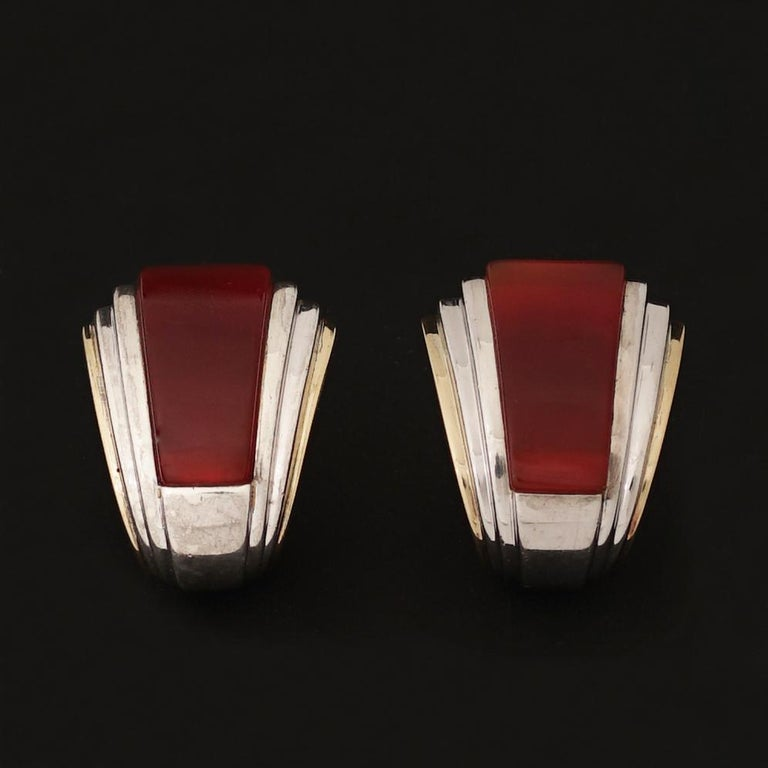 Art Deco Puiforcat, Gold Silver and Carnelian Clip-On Earrings, circa 1970 For Sale