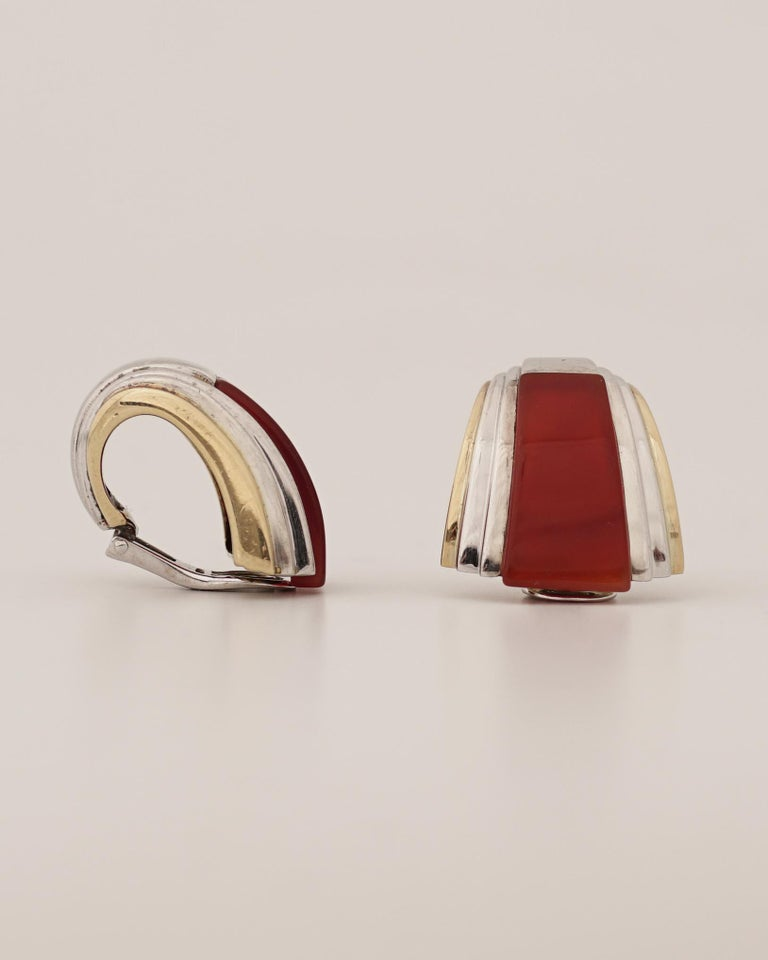 Women's or Men's Puiforcat, Gold Silver and Carnelian Clip-On Earrings, circa 1970 For Sale