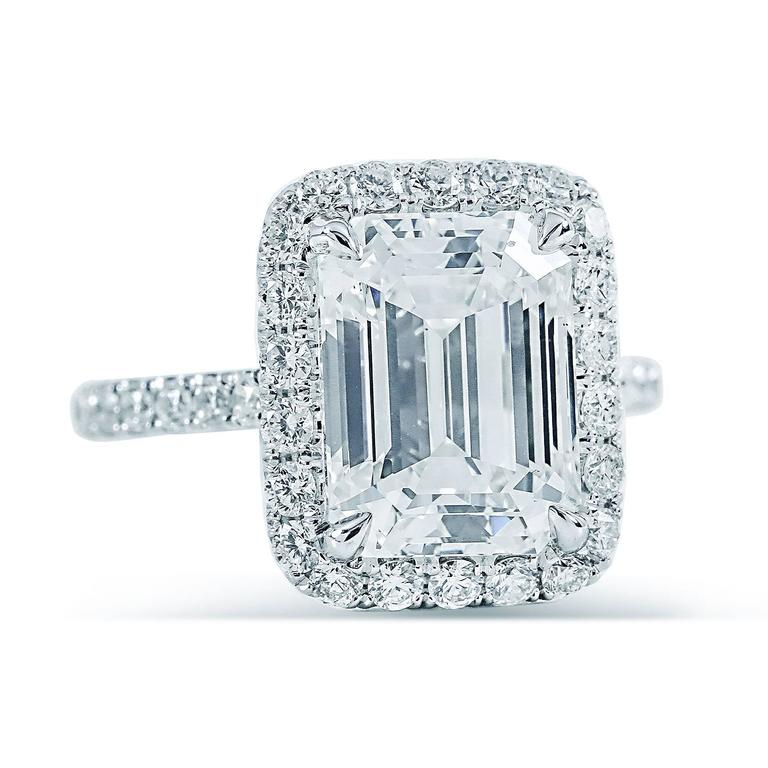 6 12ct emerald cut halo engagement ring h vs2 at 1stdibs