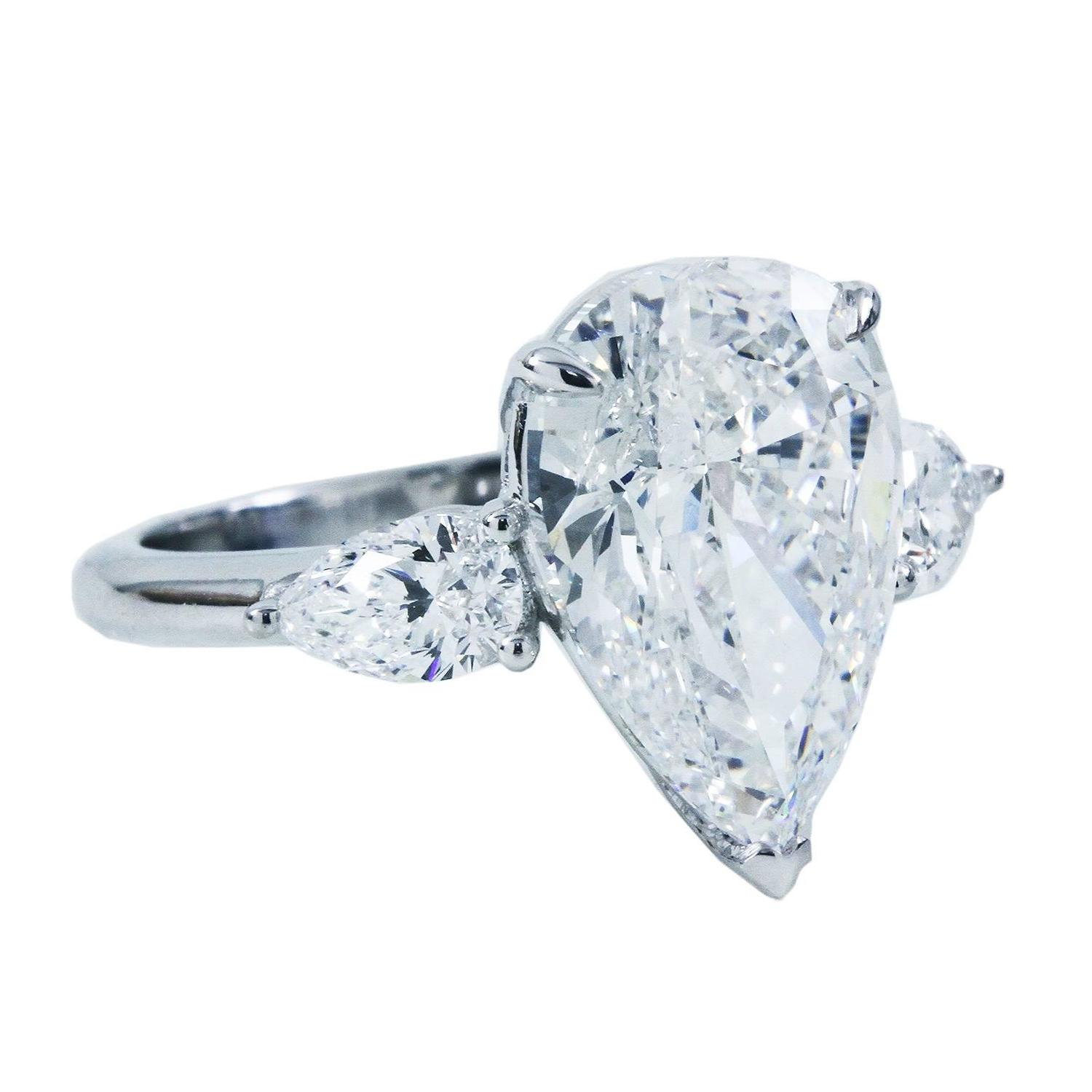 5 88 Carat GIA Pear Diamond Gold 3 Stone Engagement Ring For Sale at 1stdibs