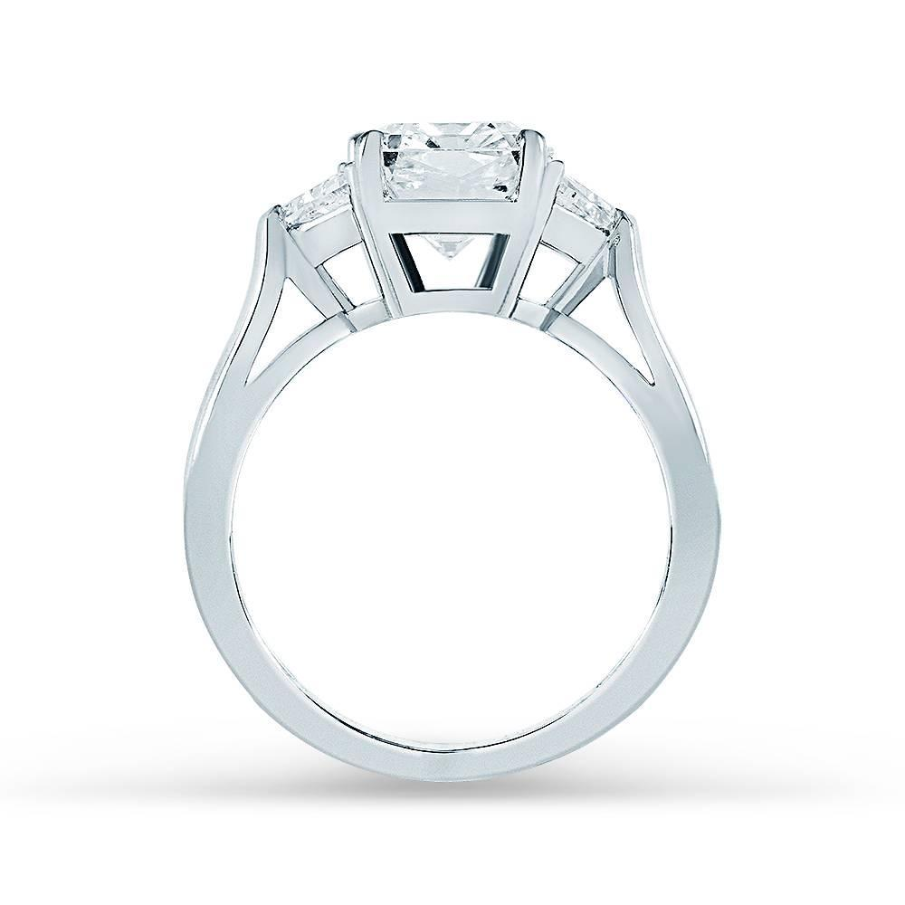 Tiffany and Co 2 73 Carat Radiant Cut Diamond Gold 3 Stone Engagement Ring F
