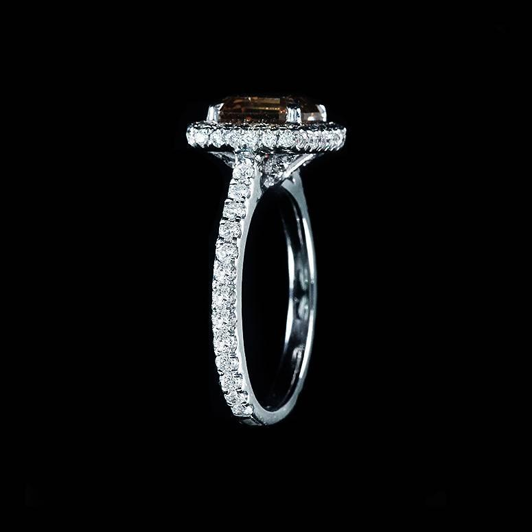 Brown Emerald Cut Diamond Halo Pave Set Engagement Ring at 1stdibs