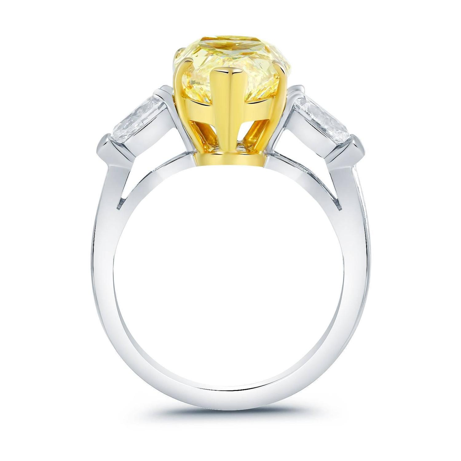 5 93 Carat GIA Cert Three Stone Fancy Yellow Pear Diamond Engagement Ring For