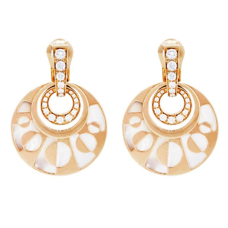 bulgari intarsio gold pendant earrings at 1stdibs