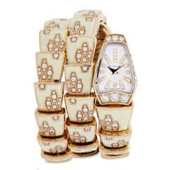Bulgari Lady's Rose Gold and Diamond Serpenti Scaglie Bracelet Watch