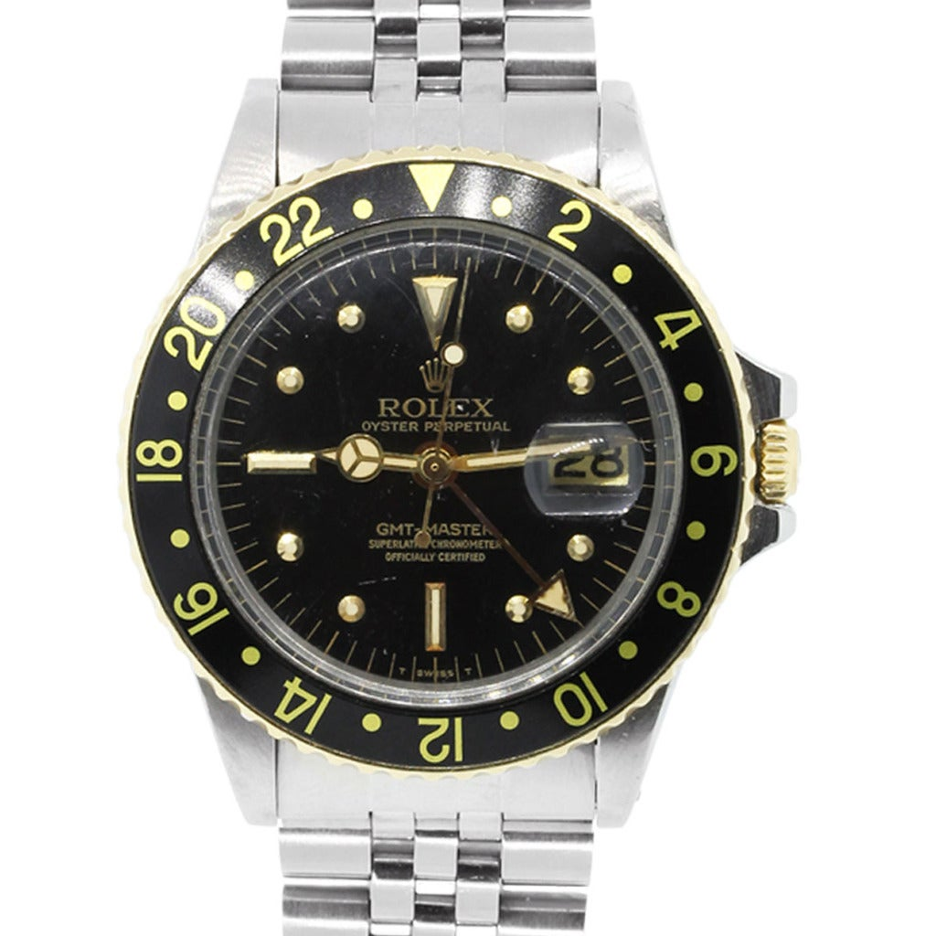 Rolex Stainless Steel GMT Master Two Tone Black Dial Wristwatch Ref 1675 1