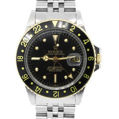 Rolex Stainless Steel GMT Master Two Tone Black Dial Wristwatch Ref 1675