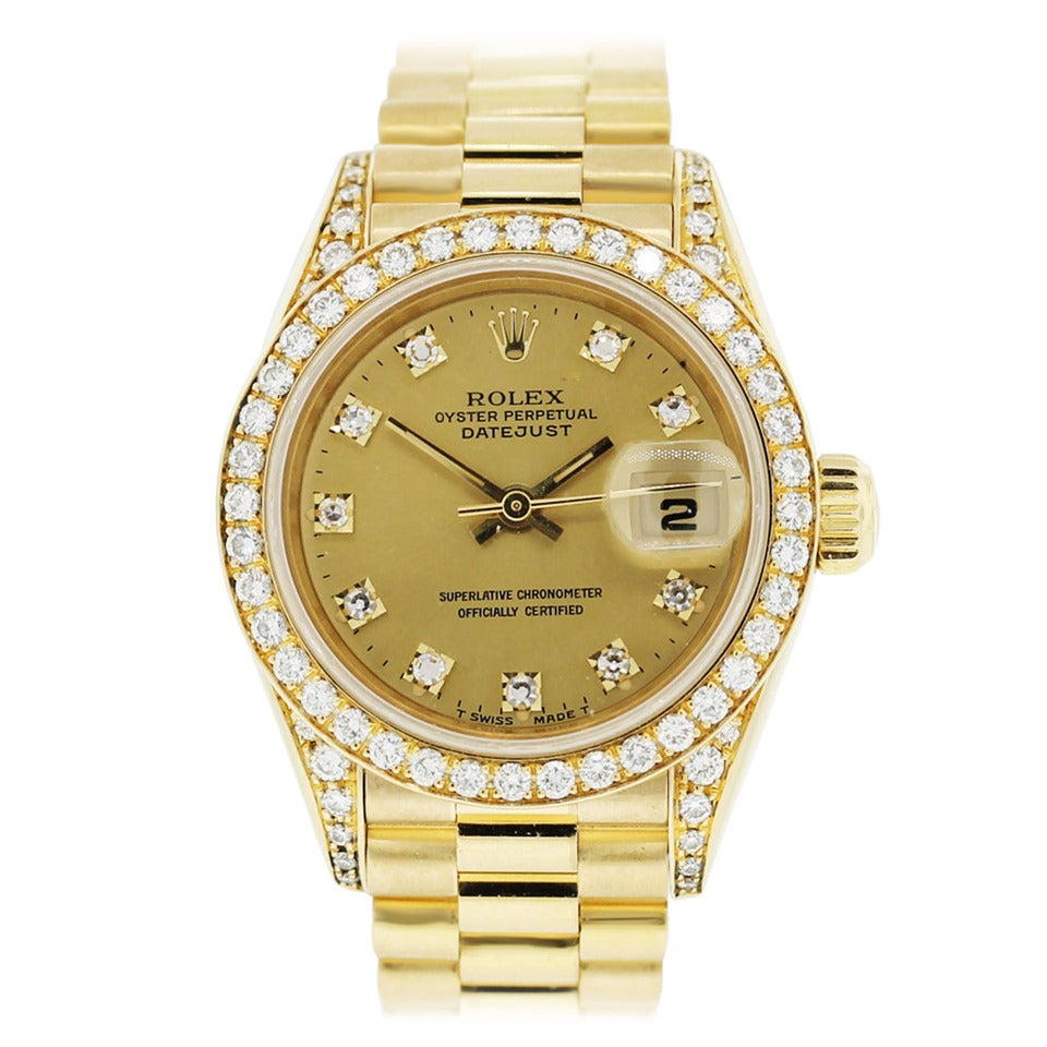 Rolex Lady's Yellow Gold Oyster Datejust Presidential ...