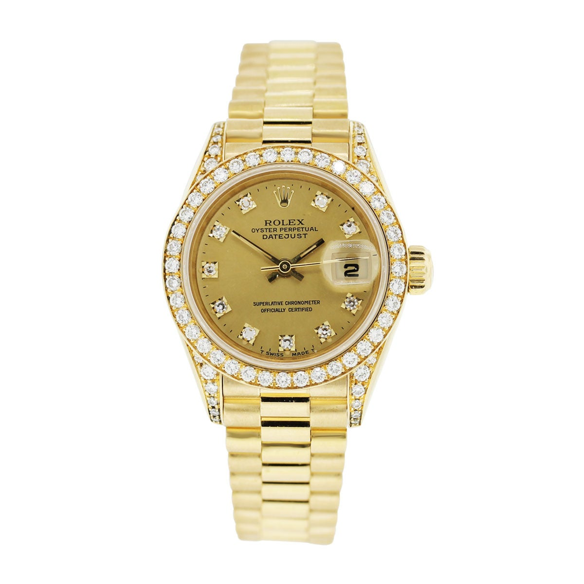 Rolex Lady's Yellow Gold Oyster Datejust Presidential Diamond Watch Ref 69158 2