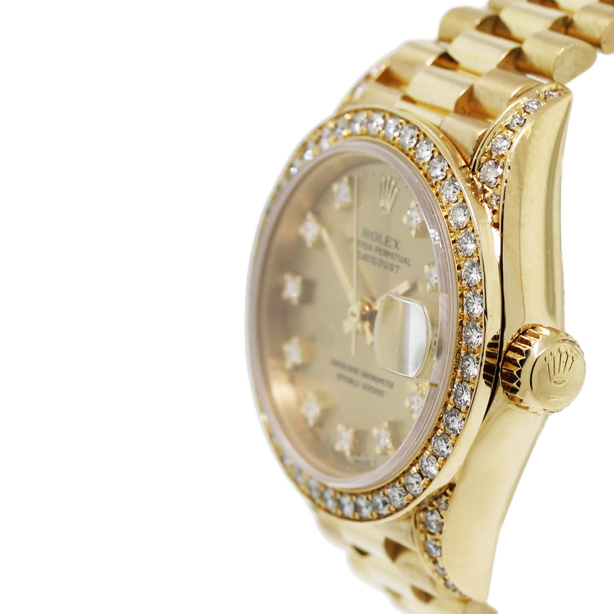 Rolex Lady's Yellow Gold Oyster Datejust Presidential Diamond Watch Ref 69158 3