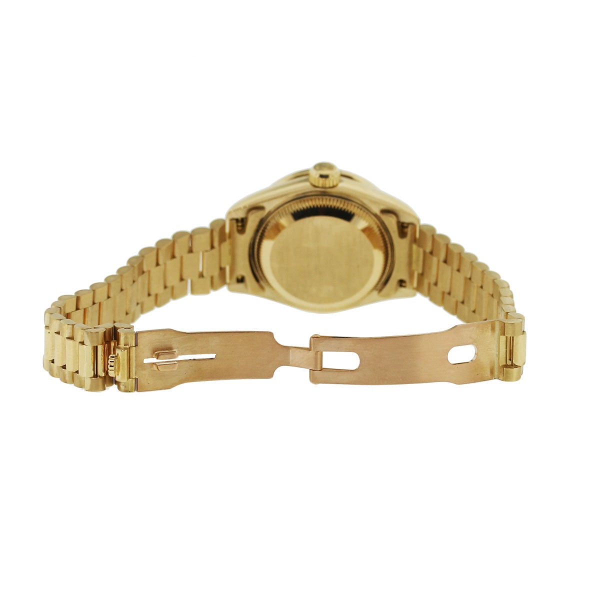 Rolex Lady's Yellow Gold Oyster Datejust Presidential Diamond Watch Ref 69158 4