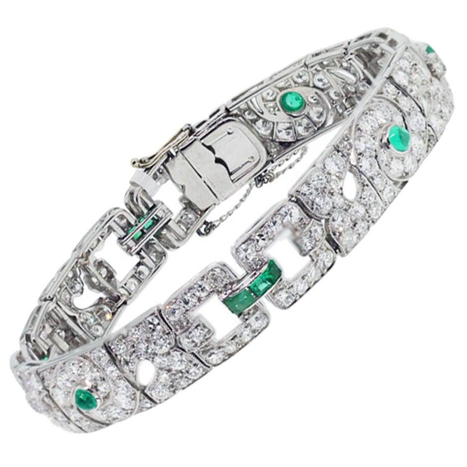 Emerald Diamond Platinum Ladies Bracelet