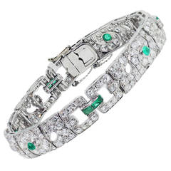 Emerald Diamond Platinum Ladies Bracelet