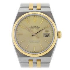Rolex Yellow Gold Stainless Steel Oyster Quartz Datejust Wristwatch Ref 17013