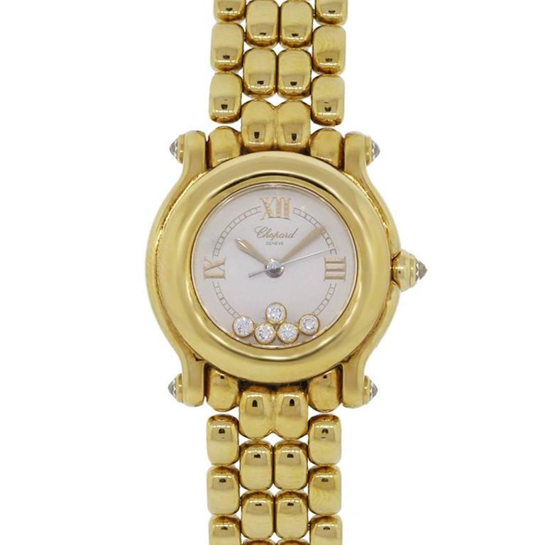 Chopard Lady's Yellow Gold Diamond Happy Sport Quartz Wristwatch For Sale